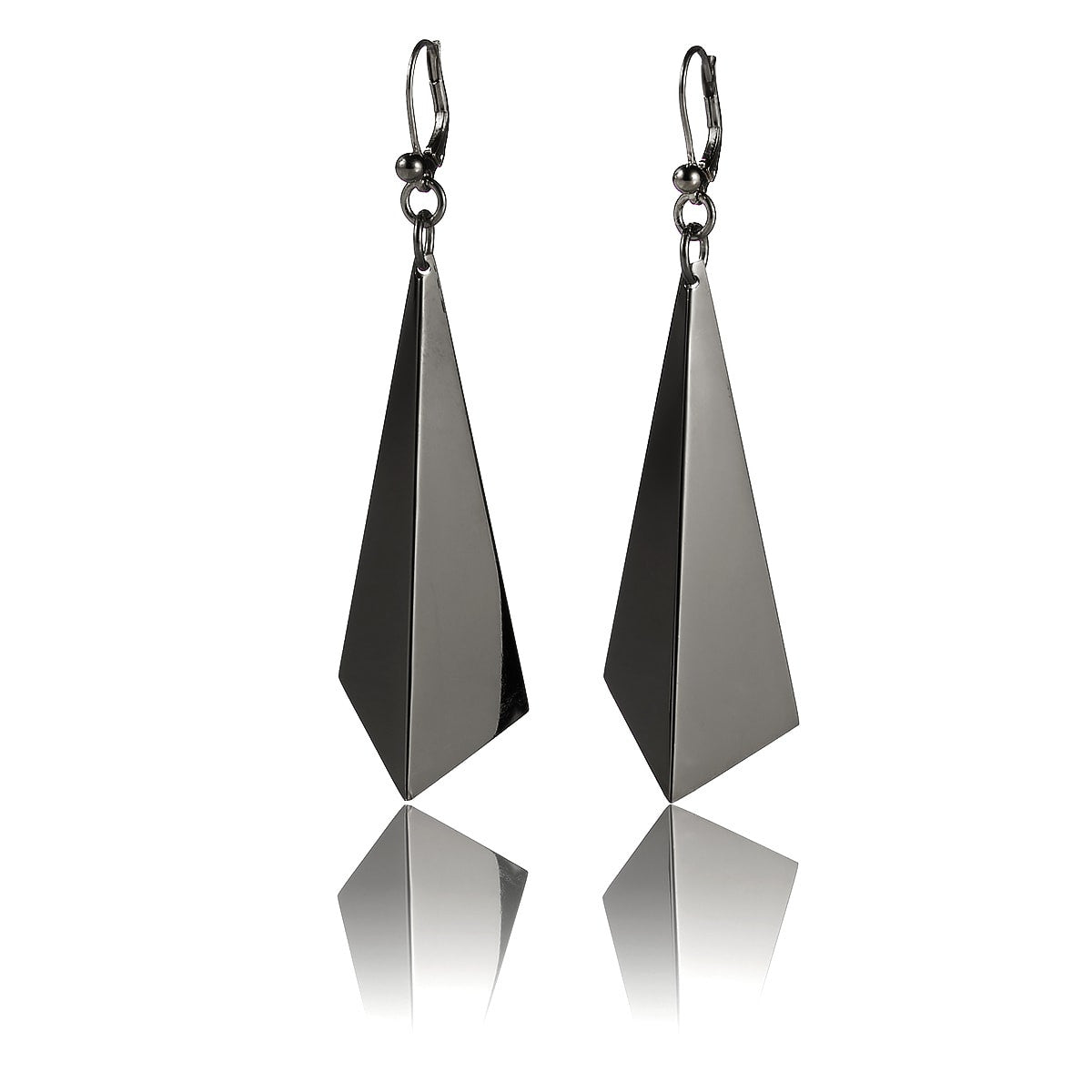 Facet Earrings (Rhodium plated silver)