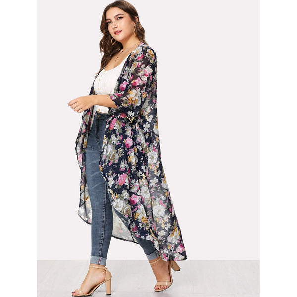 Floral Print Open Front Cardigan