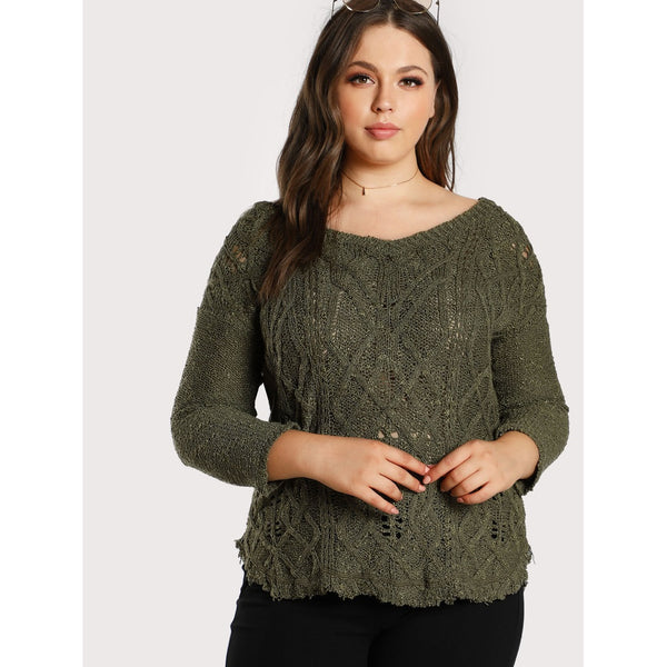 Distressed Frayed Hem Knitted Sweater OLIVE