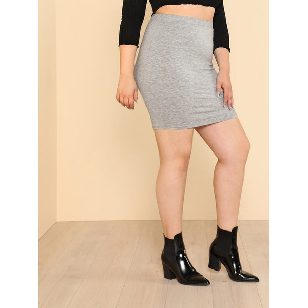 Heathered Knit Bodycon Skirt