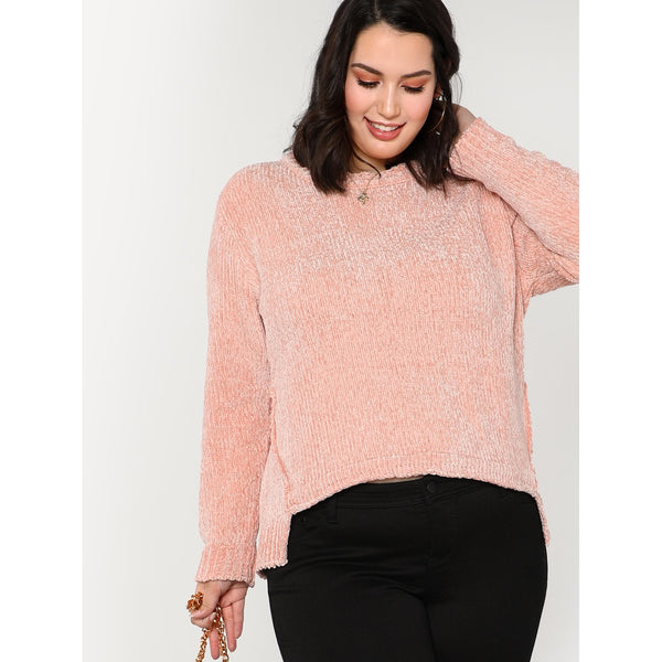 Fuzzy Knit Scoopneck Sweater PINK
