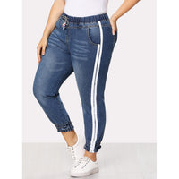 Striped Side Drawstring Waist Jeans