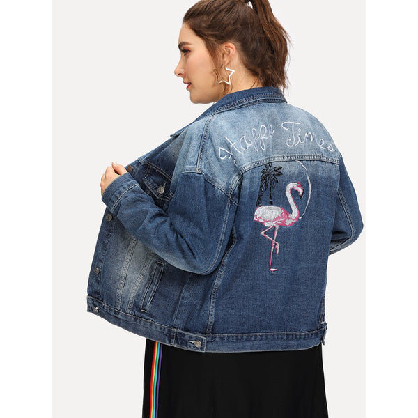 Flamingo and Letter Embroidered Bleach Wash Denim Jacket