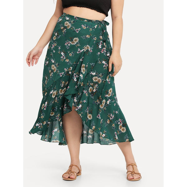 Floral Print Ruffle Trim Knot Side Skirt