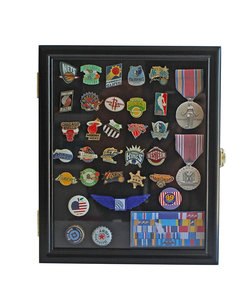 Display Case Cabinet Shadow Box for Military Medals, Pins, Patches, Insignia, Ribbons Black Finish.