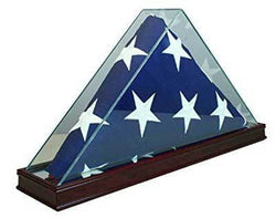 Solid Cherry Wood Elegant 5 x 9.5' Large Flag Glass Display Case for Burial/Funeral/Veteran Flag