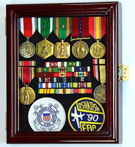 XS Display Case Cabinet Box for Military Medals Pins Patches Insignia Ribbons w/UV Protection