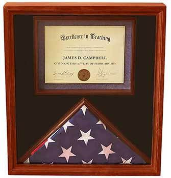 3x5 Flag Display Case with Certificate & Document Holder Big Frame