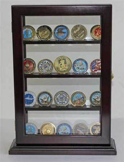 Military Challenge Coin Poker Chip Display Case Counter Top Holder Stand