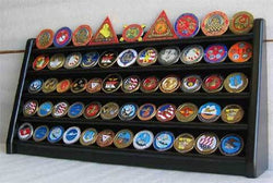 5 Rows Sport Military Challenge Coin Display Stand Holder Rack, Black, COIN5-BLA