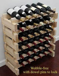 36/72 Bottle Capacity Stackable Storage Wine Rack, Wobble-free, Thicker Wood, WN36