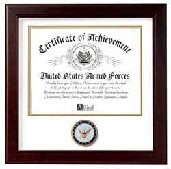 United States Navy Certificate of Achievement Frame