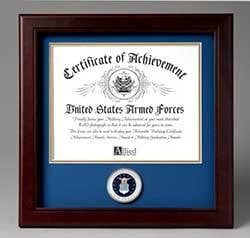 United States Air Force Certificate of Achievement Frame with Medallion - 8 x 10 inch