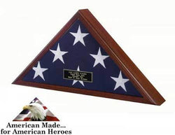 "Veteran Flag Case (Heirloom Walnut) (25.75""H x 12.5""W x 3.25""D)"