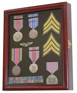 Flag Connections Display Case Cabinet Shadow Box for Military Medals, Pins etc.
