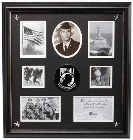 Flag Connections POW/MIA Medallion 7 Picture Collage Frame with Stars