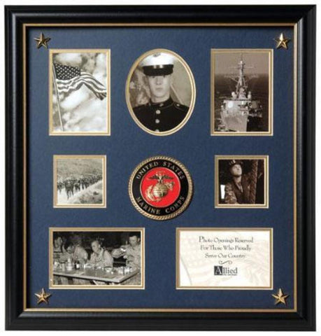 Flag Connections United States Marine Corps Medallion 7 Picture Collage Frame with Stars