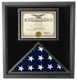 Flag Connections Premium USA-Made Solid wood 4x6 flag and certificate display case  Black Finish