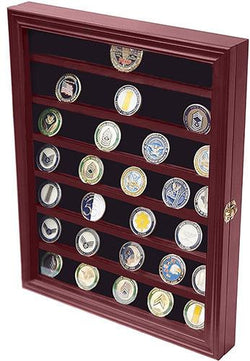 Flag Connections Military Challenge Coin Display Case Cabinet Rack Holder with Door