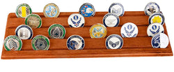 Flag Connections Military Challenge Coin Holder Stand (Walnut) (Wood, 4 Rows)