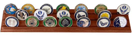 Flag Connections Military Challenge Coin Holder Stand (Walnut) (Wood, 3  Rows)
