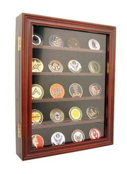 Lockable 30 Military Challenge Coin, Poker Chip, Sports Coin Display Case Cabinet, Glass Door, Coin30-CHR
