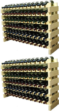 Wine Rack Stackable Storage Stand Display Shelves, (Natural, 12 X 12 Rows (144 Slots)