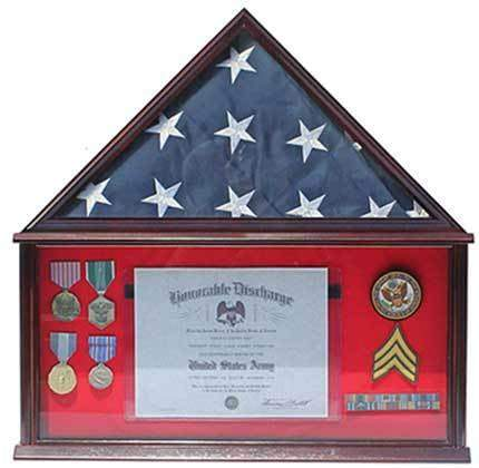 Military Shadow Box Frame Memorial Burial Funeral Flag Display Case