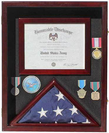 Military Shadow Box 3'X5' Flag Display Case, with Certificate Frame FC17-MA