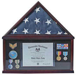 Elegant Memorial/Funeral Flag Display Case Storage Military Shadow Box