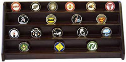 4 Rows Shelf Challenge Coin Holder Display Casino Chips Holder Cherry Finish