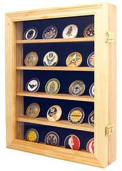 Lockable 30 Military Challenge Coin, Poker Chip, Sports Coin Display Case Cabinet,