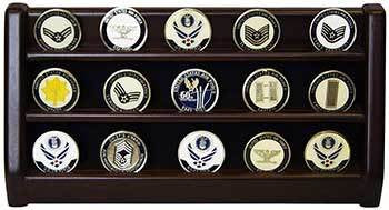 3 Rows Shelf Challenge Coin Holder Display Casino Chips Holder Solid Wood - Cherry Finish