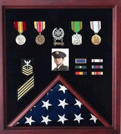 Officer Flag Medal Display Box- Shadow Box, Flag Box Hand Made By Veterans