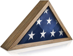 Rustic Flag Case - SOLID WOOD Military Flag Display Case for 9.5 x 5 American Veteran Burial Flag