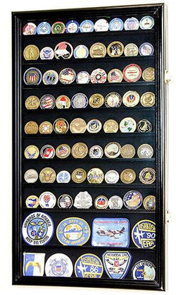 L Military Challenge Coin Display Case Cabinet Rack Holder Stand Box w/UV Protection, Black Finish