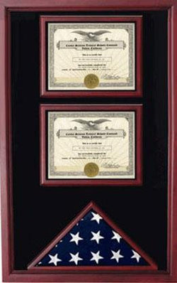 Flag and 2 Certificates Cases Shadow Box, Military Flag Display Cases and Certificate Holders