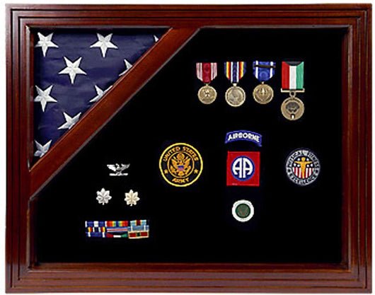 Flags connections Military Award Shadow Box with Display Case for 3 x 5 feet Flag