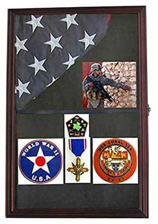 Military Shadow Box Flag Display Case Medal Keepsake Box