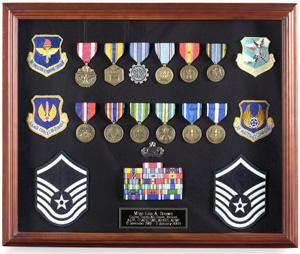 Large Medal Display case cherry finish