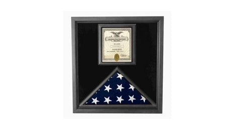 Flag and Certificate Case Black Frame, American Made Designed to Make That Certificate Feature as prominently as The Flag