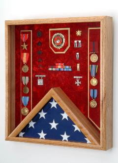 US Marine Corps Flag medal display case holds a 3' x 5' folded flag