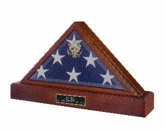 Police Flag And Pedestal, Burial Display Case.