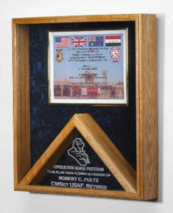 Military certificates and flag frames, combo flag case.