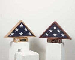 Burial flag Display and pedestal case.