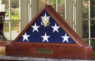 American Flag Case with Pedestal For Burial Flag