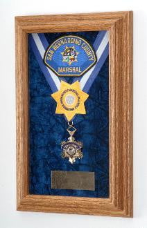 Single Medal Display Case, Wood Awards Display Case