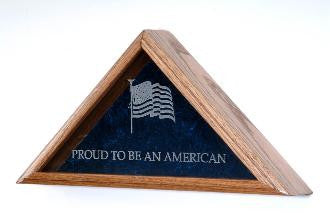 Large Flag Display Case Includes Engraved Emblem