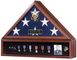 Flag and Medal Display Cases - High Quality Solid Wood Finished Back Panel