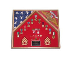 2 Flag Military Shadow Box flag and document flag display holder